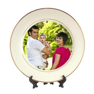 Prato Decorativo com Linhas Douradas de 27 cm