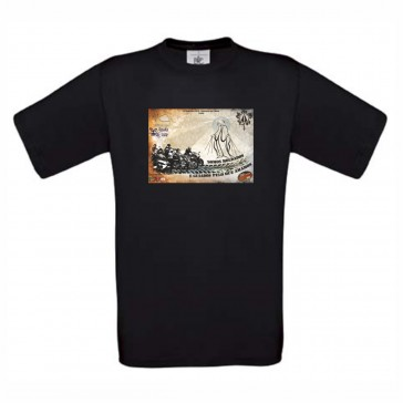 T-Shirt  B&C Exact 190 Unisexo de manga curta, Preto Tamanho S