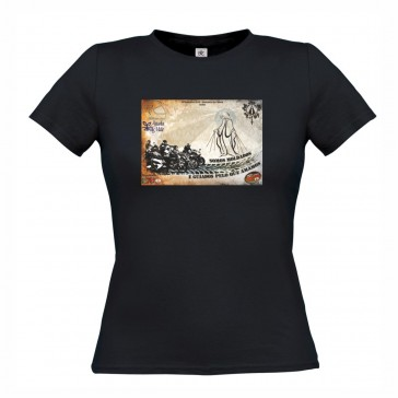 T-Shirt  B&C Exact 150 Senhora de manga curta, Preto Tamanho XL