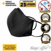 Mascara de protecção reutilizavel de 3 camadas e 25 lavagens, Preta