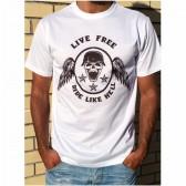 T-Shirt Unisexo B&P  Live Free Ride Like Hell de Adulto de manga curta