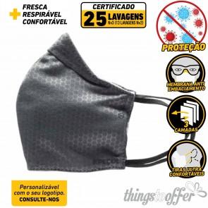 Mascara de protecção reutilizavel de 3 camadas e 25 lavagens, Cinza