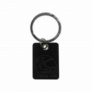 Porta-chaves de aço inoxidável em design bicolor com logo da bênção 2019 gravado de um lado a laser.