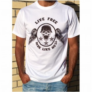 T-Shirt Unisexo B&P  Live Free Ride Like Hell de Adulto de manga curta