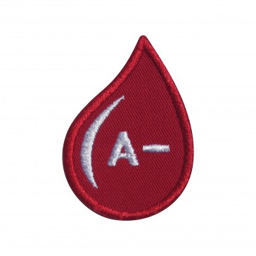 Embroidered patch Blood Grup A- drop form
