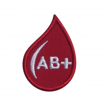 Embroidered patch Blood Grup AB+ drop form