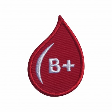 Embroidered patch Blood Grup B+ drop form