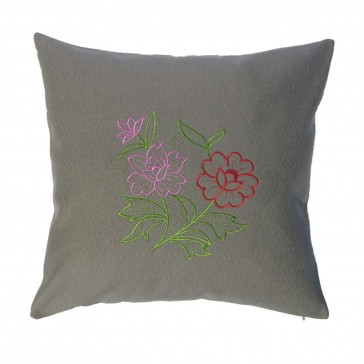 Embroidered Cushion cover with flowers