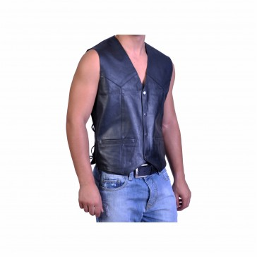 Men Motorcycle Leather vest With braids