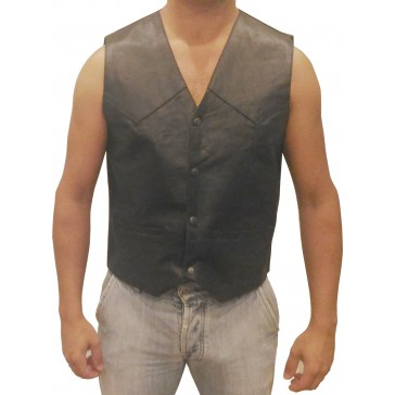 Men Motorcycle Leather vest Without braids