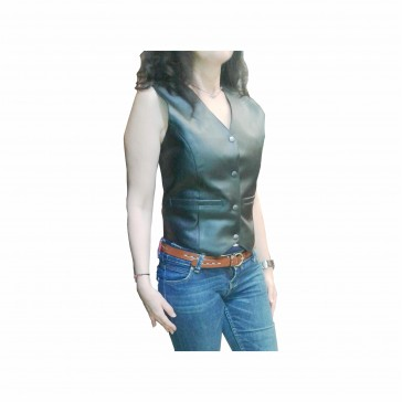 Woman Motorcycle Leather vest Without braids
