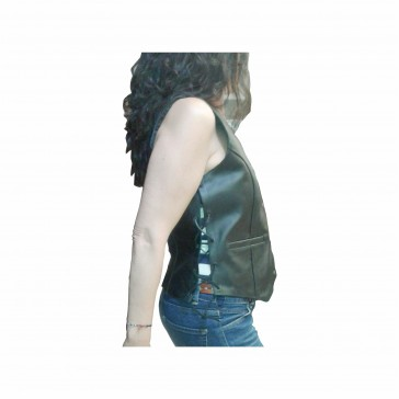 Woman Motorcycle Leather vest With braids