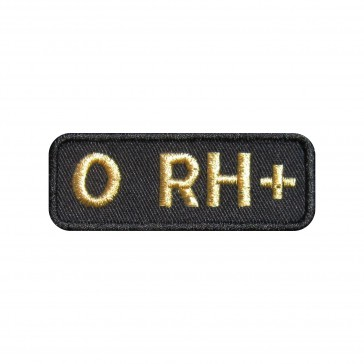 Embroidered patch Blood Grup 0+ rectangular shape