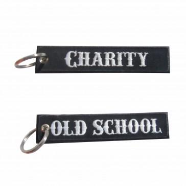 Old School Embroidered Keyring – Charity