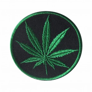 Embroidered patch cannabis leaf
