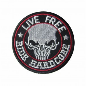 Embroidered patch Live Free, Ride Hard Core