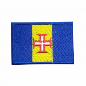 Embroidered patch of rectangular Madeira flag