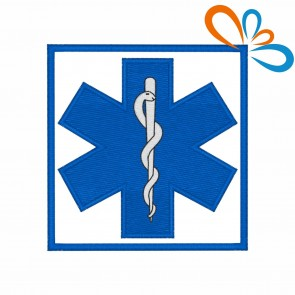 Embroidered patch Star of Life square