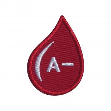 Parche Bordado Grupo Sanguineo A- (A negativo) en forma de gotas
