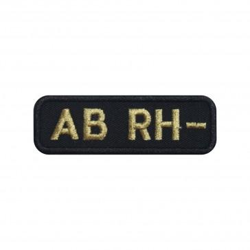 Parche Bordado Grupo Sanguineo AB- (AB negativo) de forma rectangular