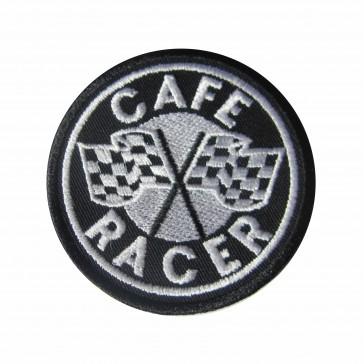 Parche Bordado Café Racer con banderas de cuadros