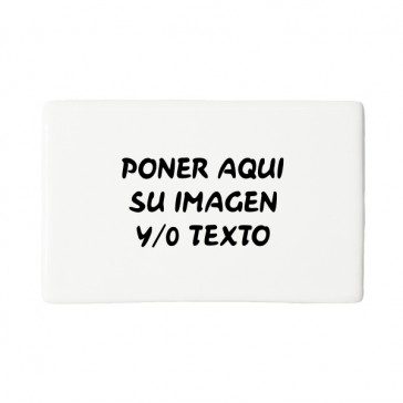 Imán rectangular Porcelana  8,5 x5, 6 cm