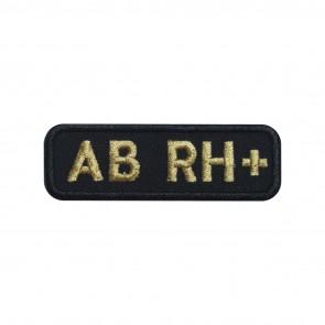 Parche Bordado Grupo Sanguineo AB+ (AB positivo) de forma rectangular